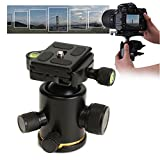 Aluminum 360 Degree Rotate Tripod Ball Head With 1/4 Inch Quick Release Plate For DSLR Camera