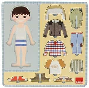 Goula - Vestir niño, puzzle 10 piezas de madera (Diset 53109)