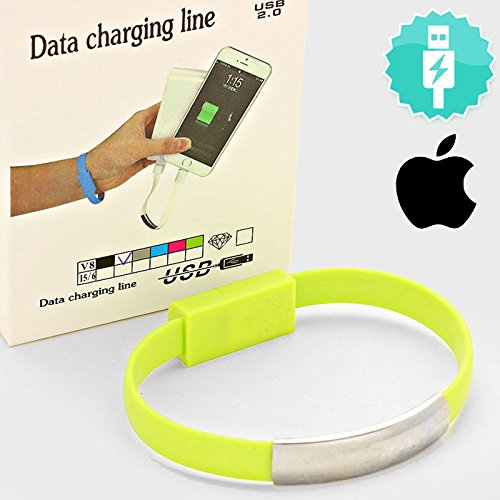 Price comparison product image Apple Iphone Lightning Cable Green Bendy Bracelet. Compatible with Compatible with Iphone 6 / 6 Plus & 5 / 5s / 5c. Easy to Carry on Wrist, Very Convenient for Iphone Charge or Date Transfer Anytime.