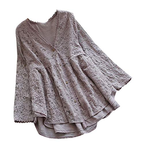 - YOCheerful Women Tops Vintage Casual Lace V-Neck Long Sleeve Button Up Linen Top T-Shirt Loose Blouse(Purple, 3XL)