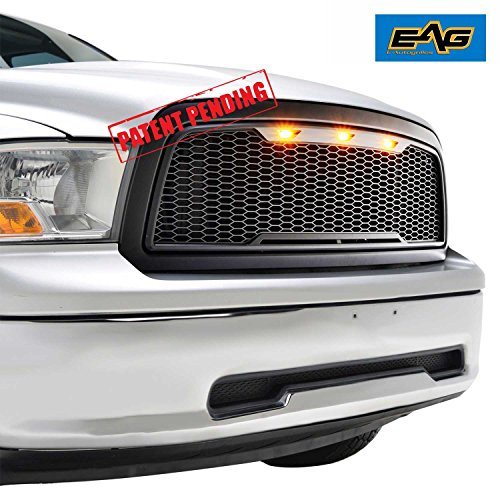 EAG Replacement Ram ABS Grille - Matte Black - With Amber LED Lights for 09-12 Dodge Ram 1500