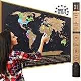 XL Scratch Off Map of the World with Flags - Made in Europe Large 35x23-1/2 inch Scratch Off World Map Poster with US States & Country Flags - Deluxe Travel Decor World Scratch Map, Gift for Travelers