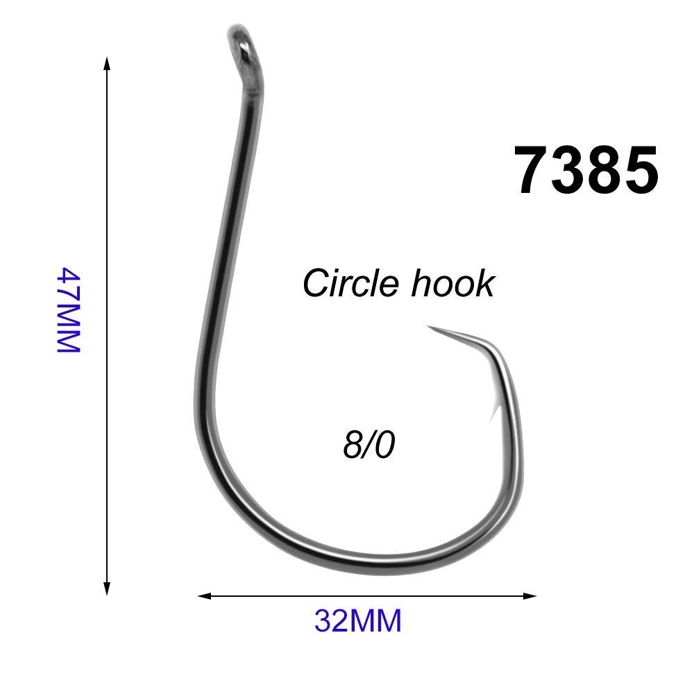 zunehmende/® 50/7385/High Carbon Stahl Octopus Kreis Angeln Haken 8//0/schwarz Breite Gap versetzt Sport Angeln K/öder Haken Set