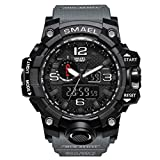 SMAEL Watch, Military Army Watch Analog Digital Dual Time Large Face Wrist Watch Sports Watch for Men (Grey)