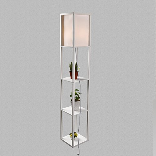 - ELECWISH Shelf Floor Lamp with Linen Shade, UL Listed, Wooden Frame, Switch on/off, Etagere Organizer Shelf, White