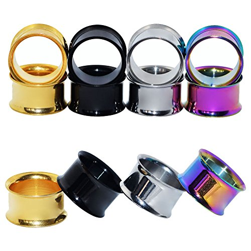 D&M Jewelry 4 Pairs Stainless Steel Double Twin Flare Flesh Tunnel Ear Plug Gauge 0g