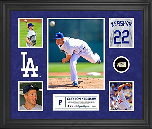 Clayton Kershaw Los Angeles Dodgers Framed 5-Photo Collage with Piece of Game-Used Ball - MLB Player Plaques and Collages (Clayton Kershaw Plaque)