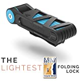 "FOLDYLOCK COMPACT BIKE LOCK | Heavy Duty Bicycle Security Chain Lock Steel Bars| Carrying Case Included| Unfolds to 80Cm/31.5"" (Blue, 1 Pack)"