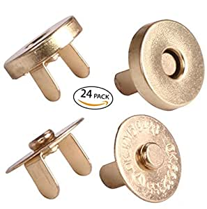 """Mini Skater 24 sets Magnetic Button Clasp Snaps - No Tools Required- size: 18mm(6/8"""") (Gold)"""