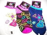 Candy Girls No Show 3 Socks ~ Size 9-11, Shoe 4-10 (Lips, Glittey Guitars)