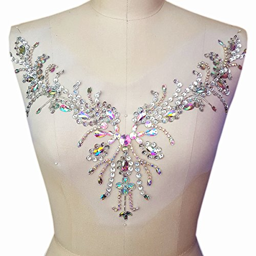 Sparkle Beaded V-neck AB Color Bling Sew On Neckline Sequin Rhinestones Crystal Trim Bridal Applique Design Patch Sewing for Wedding Dresses DIY Craft 12x15 Inch (AB)