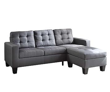 Amazon Com Acme Earsom Gray Linen Sectional Sofa With Reversible