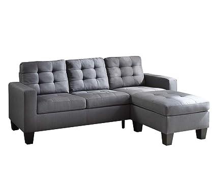 amazon com acme earsom gray linen sectional sofa with reversible rh amazon com acme sectional sofa reviews acme furniture hilton's sectional sofa with sleeper