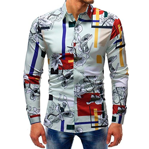 vermers Mens Button Down Shirts - Men Fashion Printed Blouse Casual Long Sleeve Slim Shirts Tops(M, Multicolor2) (Singlet Pattern)