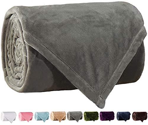 LBRO2M Fleece Bed Blanket Super Soft Warm Fuzzy Velvet Plush Throw Lightweight Cozy Couch Blankets Queen(90-Inch-by-90-Inch) Grey