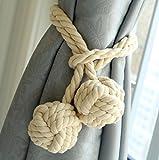 KISENG 1 Pair Curtain Tiebacks Hand Knitting Cord Rope Buckle Window Holdbacks for Bedroom (WW)