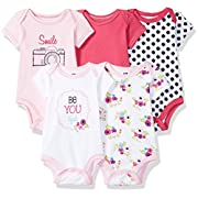 Hudson Baby Baby Infant Cotton Bodysuits, Be Youtiful 5 Pack, 6-9 Months
