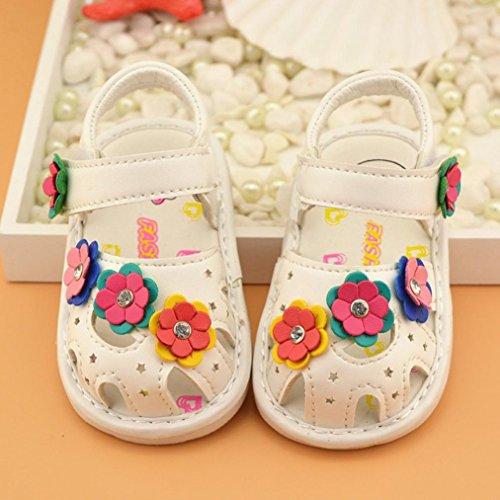 Zapatos de bebé, Switchali Recién nacido bebe niña verano Princesa zapatos Niñas floral Suela blanda Antideslizante Zapatillas chica vestir Calzado de deportes Sandalias Blanco