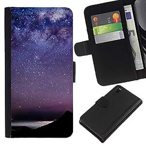 Estrellas del cielo la constelación de Mar- la tarjeta de Crédito Slots PU Funda de cuero Monedero caso cubierta de piel Para Sony Xperia Z3 D6603