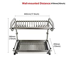 "Probrico 2-Tier Stainless Steel Dish Drying Dryer Rack 440mm(17.5"") Drainer Plate Bowl Storage Organizer Holder Wall Mounted Distance:410mm(16"")"
