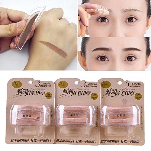 Eyebrow Powder Hosamtel Fashion Eyebrow Template Stamp Sponge Stencils Eye Makeup Natural Brow Type Makeup Tool (Straight Eyebrow)