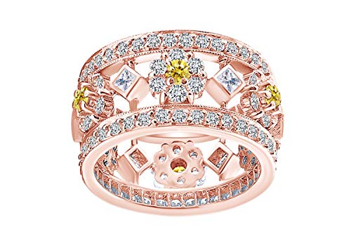 IGI certified 3.02 Carat (cttw) Round & Princess White Natural Diamond & Simulated Sapphire Band Ring 18k Solid Rose Gold (3.02 Ct Princess Diamond)