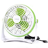 USB Fan,Daffodil UFN140G Mini Table Desk Personal Quite Fan ABS Cooling Fan for Office Home School and Camping, High Compatibility, Power Saving with 360 Degree Rotation, 7.8 Inch (Green)