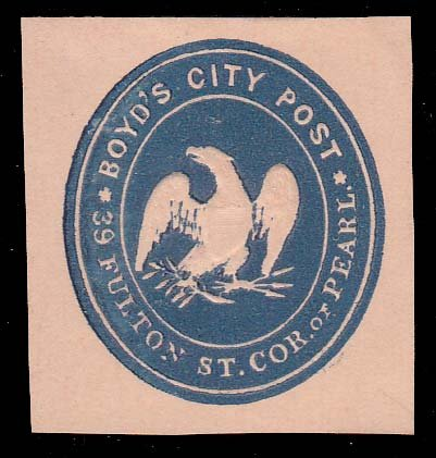 United States Scott 20LU4 Boyd's City Post Reprint on Oriental Buff Paper Cut Square. Unused with hinge remnant.