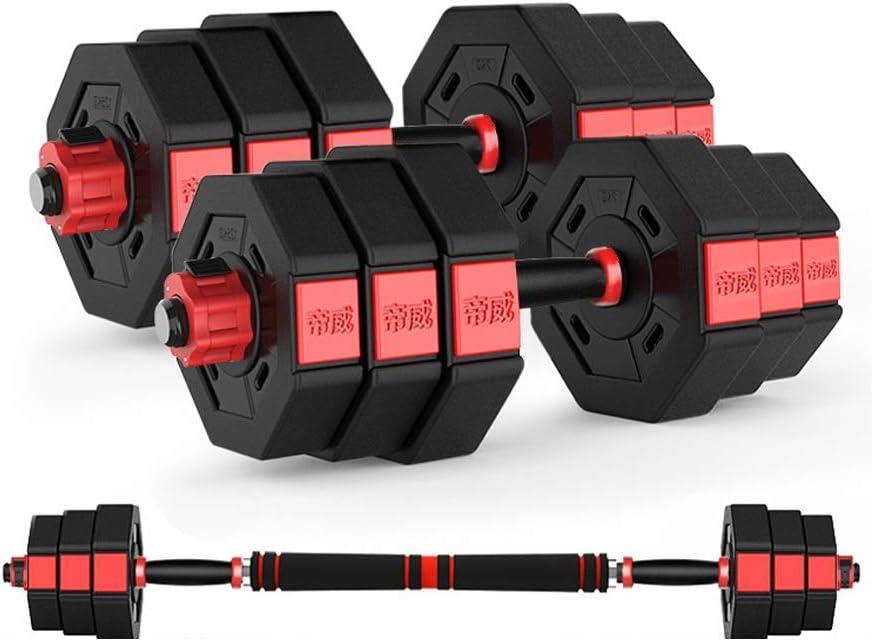 Lucky Star Travel Dumbbells-Adjustable Fillable Dumbbells, 2 in 1 Dumbbell & Barbell Set, Bodybuilding Exercise Equipment Dumbbells Kit for Home Gym Training (Size : 30KG)