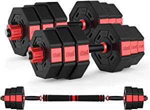 Lucky Star Travel Dumbbells-Adjustable Fillable Dumbbells, 2 in 1 Dumbbell & Barbell Set, Bodybuilding Exercise Equipment Dumbbells Kit for Home Gym Training (Size : 30KG)
