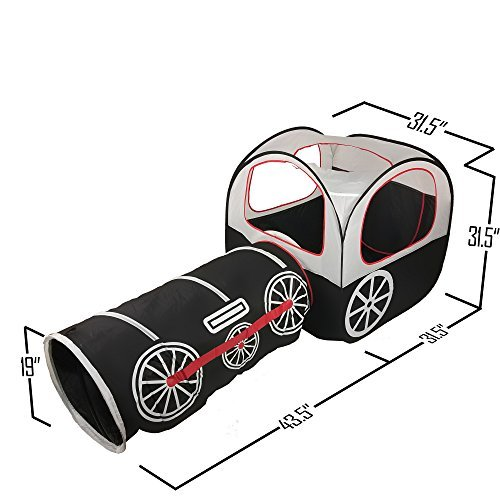 ALPIKA Train Kids Pop Up Play Tent, Tunnel and Ball Pit with Storage Bag(Black)