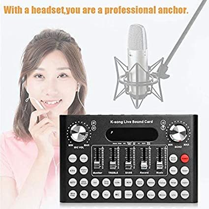 Meiyiu DC5V 1A K-Song Studio Audio Mixer Microphone Webcast ...