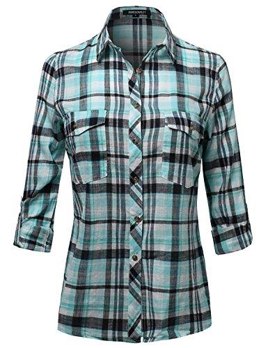 Plaid Button Down Shirt - 4