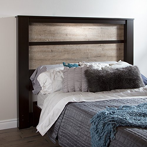 South Shore Gloria Headboard with Lights, King 78-Inch, Chocolate and Weathered Oak (Oak Contemporary Headboard)