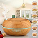 Ledsniper Aromatherapy Essential Oil Diffuser Ultrasonic Cool Mist Diffusers with 7 Color LED Lights Waterless Auto Shut-off, 200ml Wood Grain