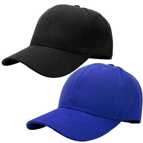 Baseball Cap Adjustable Size Solid Color G001-01-Black & - Fitted Black Royal Hats