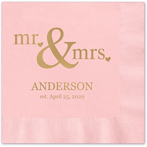 Mr & Mrs Hearts Personalized Beverage Cocktail Napkins - 100 Custom Printed Pink Paper Napkins with choice of foil