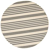 Safavieh CY6062-236 Courtyard Collection Indoor/Outdoor Round Area Rug, 6-Feet 7-Inch, Bone and Grey Picture