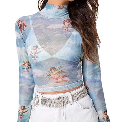 Falonny Womens Tops Angel Print Sexy Sheer Mesh Crop Top Mock Neck Long Sleeves See Through Cupid Cherub Tops Summer (Blue, S)