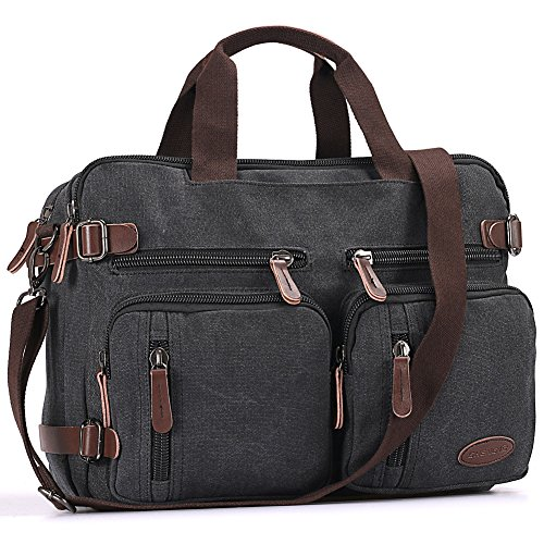 Business Laptop Overnight Case - Laptop Bag, Vintage Hybrid Backpack Messenger Bag/Convertible Briefcase Backpack Satchel Men Women