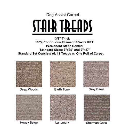 9''x27'' Dog Assist Carpet Stair Treads - SIENNA - Set of 13 w/ 1 Roll Carpet Tape (Sherman Oaks) by Koeckritz Rugs