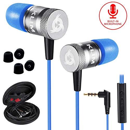KLIM Fusion Audio Kopfhörer - Langlebig + Innovativ: In-Ear-Kopfhörer mit Memory Foam [ Neue 2020 Version] Blau