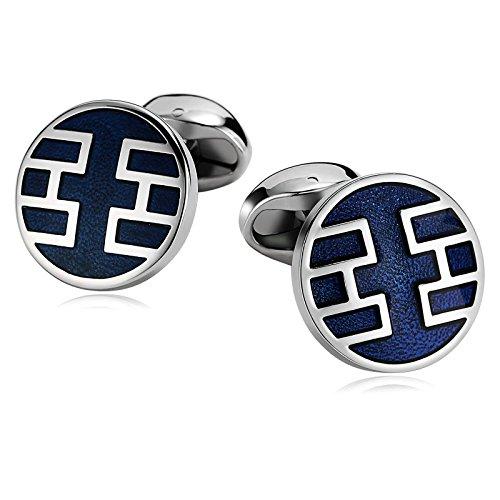 Adisaer Stainless Steel Cuff Links Men Blue Round Irregular Symbols Business Gift Dress Shirt Cufflinks