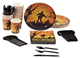 zombie supplies - Disposable Dinnerware Set - Serves 24 - Halloween Party Supplies with Zombies and Bats Design - Includes Plastic Knives, Spoons, Forks, Paper Plates, Napkins, Cups