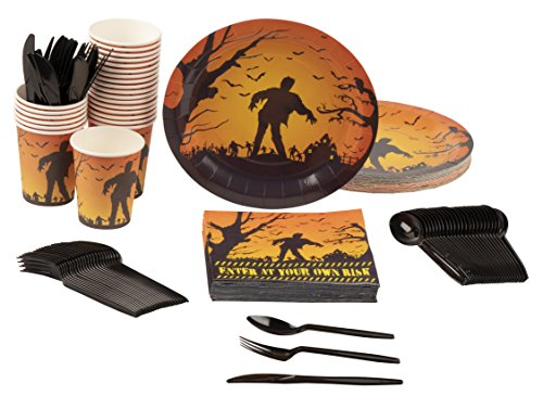 Disposable Dinnerware Set - Serves 24 - Halloween Party Supplies with Zombies and Bats Design - Includes Plastic Knives, Spoons, Forks, Paper Plates, Napkins, Cups -