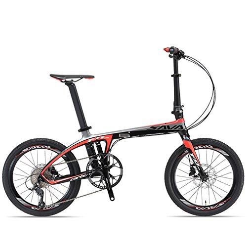 SAVADECK Folding Bike, 20 inch Carbon Fiber Frame Portable Folding Bikes Mini City Foldable Bicycle with Shimano SORA 9 Speed £¨Black ()