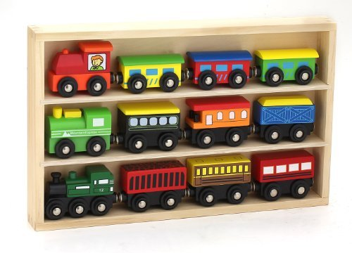Kids Destiny 12 Piece Wooden Engines And Train Cars