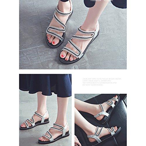 Playa Inferior Zapatos Cómoda La Punta de Piso Suela Sandalias Banda Abierta Mujeres Suave Zapatos Las de Sandalias Femeninas Plata de Rhinestone Casual Verano Estudiante Elástica 8wZX6Aq