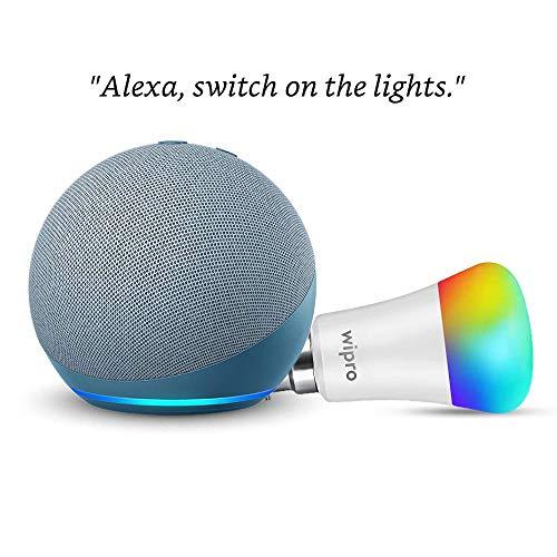 Echo Dot (4th Gen, Blue) Combo with Wipro 9W LED Smart Color Bulb – Smart Home Starter Kit