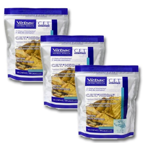 Bones Virbac - C.E.T. HEXtra Premium Oral Hygiene Chews (with Chlorhexidine) for Medium Dogs (11-25 Pounds) 3 Pack (90 chews)